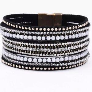 BOGO SALE Black Leather & Rhinestones Bracelet